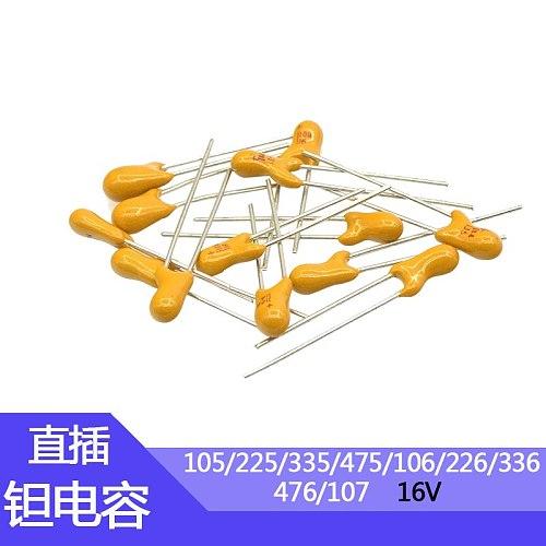 In-line tantalum capacitors 16v10uF/105/225/336/475 Foot pitch 2.54mm 16v10uf 1uf  In-line tantalum capacitors