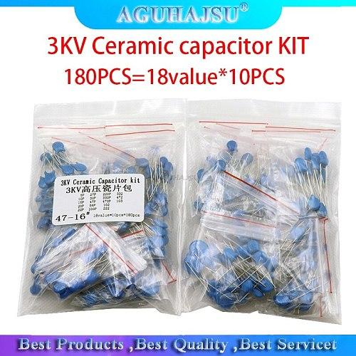 180PCS=18value*10PCS 3KV Ceramic capacitor KIT   3KV 5P 10P 22P 30P 47P 56P 100P 150P 220P 330P 470P 102 222 332 103 DIY