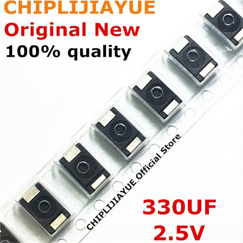 300PCS 2R5TPE330M9 330UF 2.5V 330 6.3V SMD Tantalum Capacitors Polymer POSCAP Type D Ultra-Thin 7343 D7343 New and Original