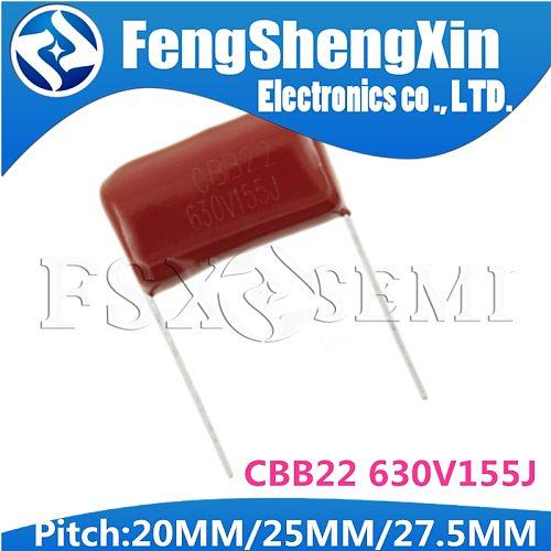 10PCS CBB22 630V155J 1.5UF Pitch 20MM/25MM/27.5MM 630V 155 155J 1500nf CBB Polypropylene film capacitor