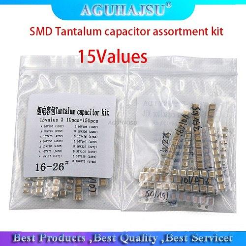 15Values SMD Tantalum capacitor assortment kit 1uf-220uf A/B Case Tantalum capacitor set 1UF 2.2UF 4.7UF 10UF 47UF capacitors