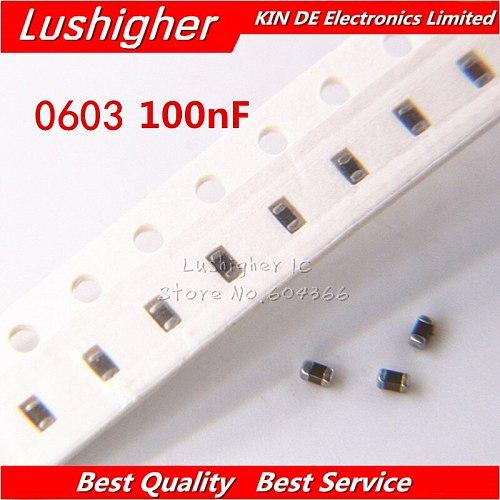 100pcs 0603 100nf 104K 104 50V X7R 10% SMD Ceramic Capacitor MLCC