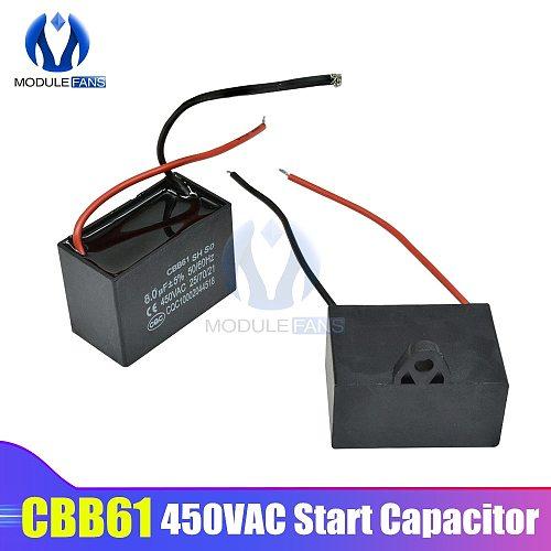CBB61 AC Motor Speed Run Capacitor Fan Refrigerator Start Capacitor Terminal Ceiling Fan CBB Motor Running Rectangle Capacitor