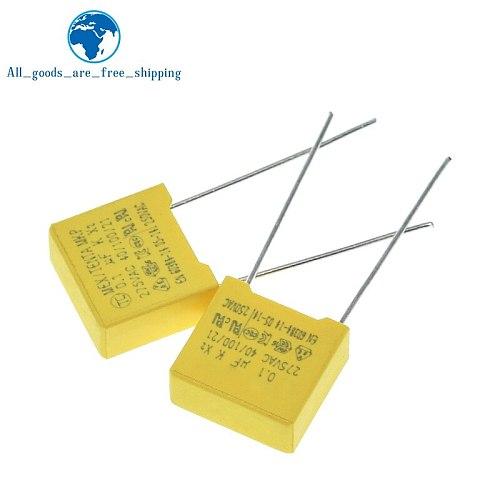 10PCS safety cap 275V104K 10MM Polypropylene film 275V 104K 0.1uf X2 safety capacitor 275VAC capacitors 275V104 capacitance