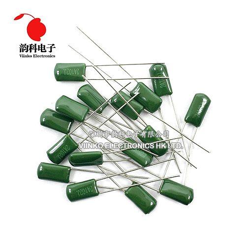 50pcs Polyester film capacitor 100V 2A102J 2A102 1NF 5% Mylar Film