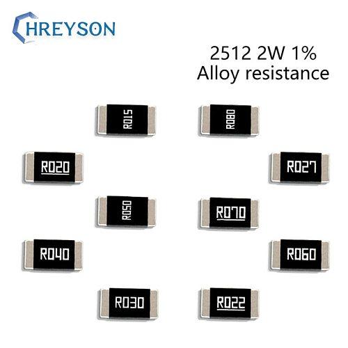 50Pcs 2512 2W SMD Alloy Set Of Resistor 1% Tolerance 0.009R 0.02R 0.039R 0.05R 0.14R 0.25R 0.5 Ohm Low Ohmic Chip Resistance Kit