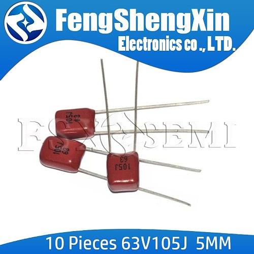 10pcs CBB 63V105J Pitch 5MM 63V 105 1000nf 1UF CBB Polypropylene film capacitor