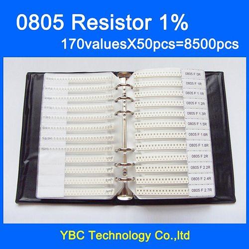 Free shipping 0805 SMD Resistor Sample Book 1% Tolerance 170valuesx50pcs=8500pcs Resistor Kit 0R~10M