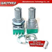 10pcs 3pin RK097N B50K 50K single linked potentiometer audio amplifier seal potentiometer handle length 15mm