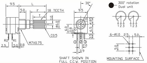 Fast Free Ship 10PCS/LOT For ALPHA 09 Type Duplex Potentiometer C10K B10K B50K B100K C100K