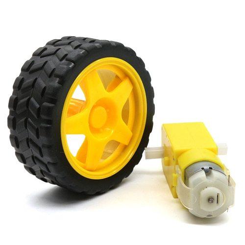 Glyduino DIY Accessories Remote Smart Car Robot Plastic Gears Driver Motor + Tyre tires wheel for Arduino intelligent car