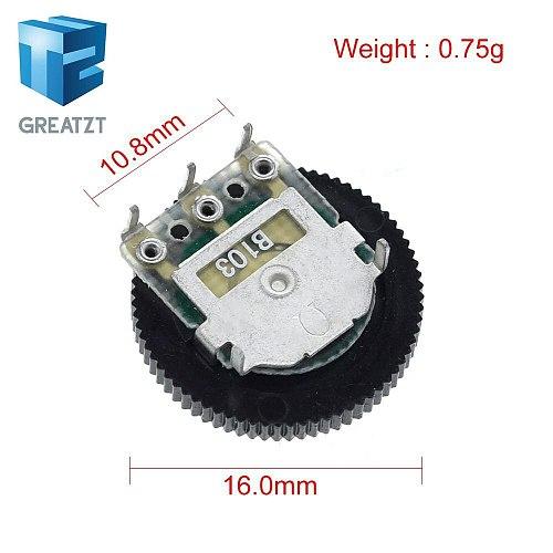 GREATZT 10 Pcs B103 16x2mm 10K Ohm Double Dial Taper Volume Wheel Duplex Potentiometer Z07 Drop ship