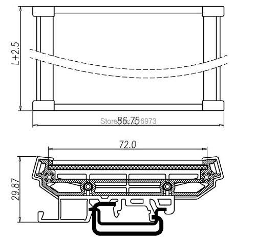 DIN Rail Mounting Carrier, for 72mm x 120mm PCB, Housing, Bracket.