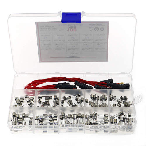 5pcs 5x20mm Fuse Holder Inline Screw Type with 16 AWG Wire + 100pcs Quick Blow Glass Tube Fuse Assorted Kit 250V