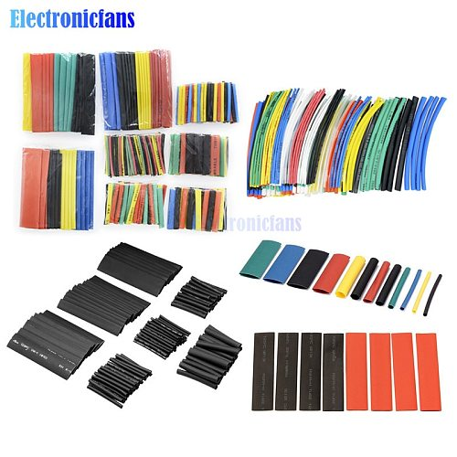 127/140/328/530/400Pcs Assorted Polyolefin Heat Shrink Tubing Tube Cable Sleeves Wrap Wire Set 8 Size Multicolor/Black