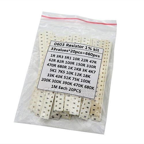 0603 SMD Resistor Kit Assorted Kit 1ohm-1M ohm 1% 33valuesX 20PCS=660PCS Sample Kit