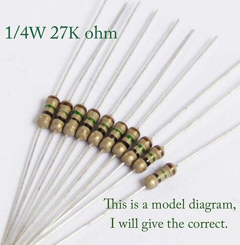 1/4w 27k 30k 33k 36k 39k 43k 47k 51k 56k 62k 68k 75k 82k 91k ohm 0.25w Original Carbon Film Resistors Resistance +/-5% (1000pcs)