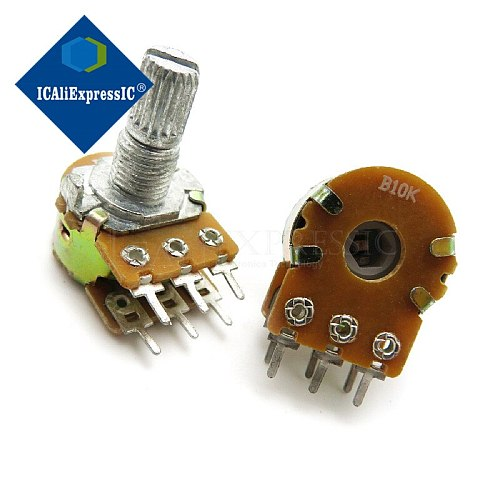 5PCS  WH148 B10K 6PIN 10K ohmPotentiometer 15mm Shaft With Nuts And Washers Hot In Stock