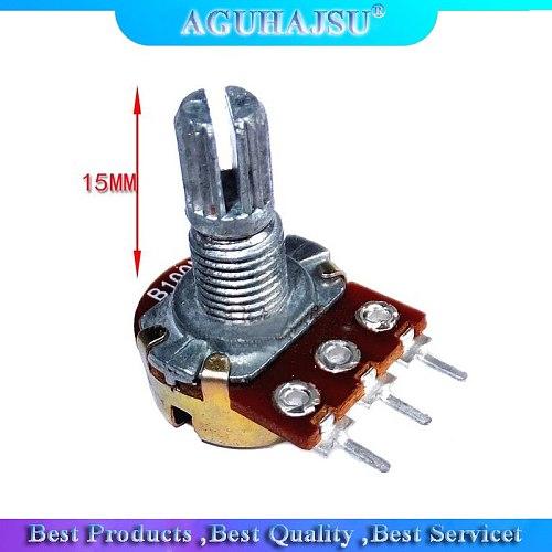 30pcs WH148 B1K B2K B5K B10K B20K B50K B100K B500K 3Pin 15mm Shaft Amplifier Dual Stereo Potentiometer 1K 2K 5K 10K 50K 100K