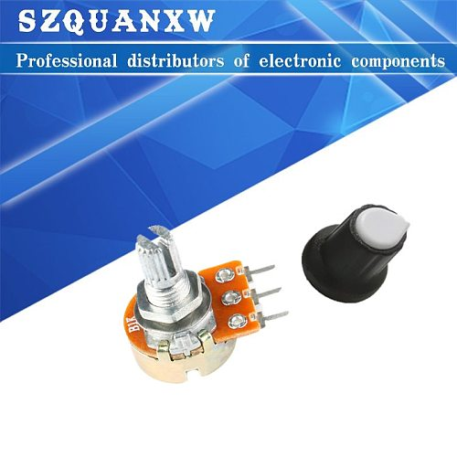 Carbon Film Potentiometer WH148 15mm 3pin + Rotary Switch Knobs Cap Kit B1K 2K 5K 10K 20K 50K 100K 250K 500K 1M ohm