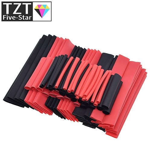 TZT 1set=150PCS 7.28m Black And Red 2:1 Assortment Heat Shrink Tubing Tube Car Cable Sleeving Wrap Wire Kit