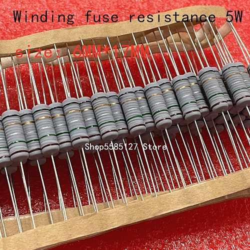 20PCS  5W 5% wire wound resistor Fuse winding resistance 0.1R 0.15R 0.33R 1R 2R 2.2R 3R 4.7R 5.1R 6.8R 10R 20R 22R 33R  47R 100R