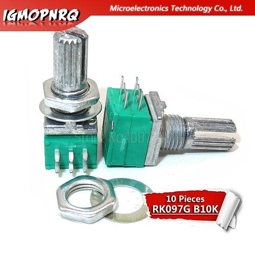 10pcs 6PIN RK097G  B10K duplex potentiometer audio amplifier sealed potentiometer 15mm handle 10K