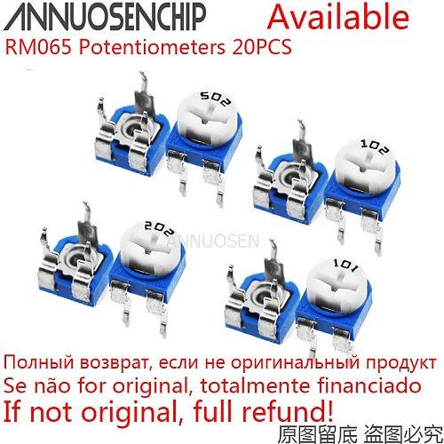 20pcs RM065 RM-065 100 200 500 1K 2K 5K 10K 20K 50K 100K 200K 500K 1M ohm Trimpot Trimmer Potentiometer Variable Resistor 101