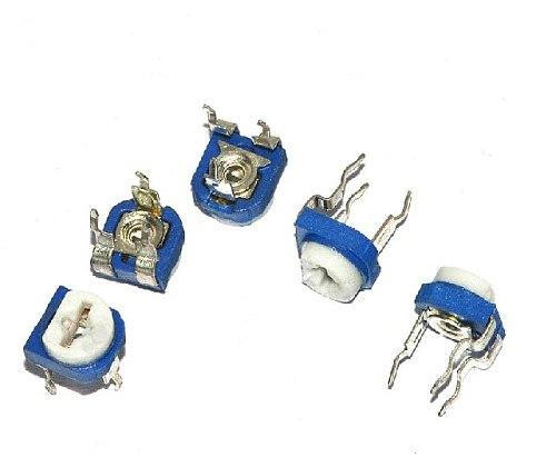 Free shipping 100pcs/lot Blue white Adjustable resistor 504 500k Horizontal Potentiometer