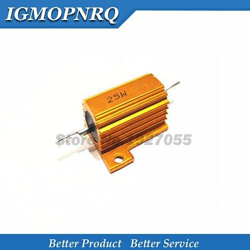 25W Aluminum Power Metal Shell Case Wirewound Resistor 0.01 ~ 30K 1 2 3 5 6 8 10 20 100 150 200 300 500 1K 10K ohm RX24