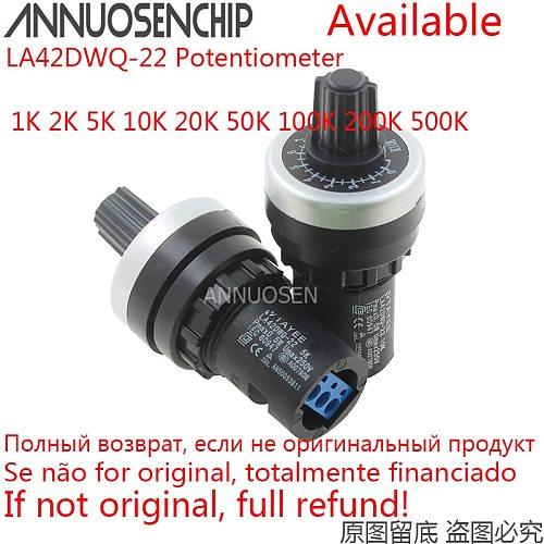 LA42DWQ-22 1K 2K 5K 10K 20K 50K 100K 22mm Diameter Pots Rotary Potentiometer Converter Governor Inverter Resistance Switch