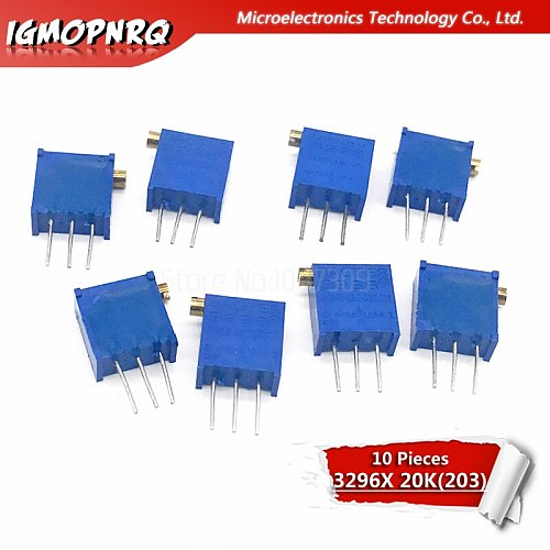 10Pcs 3296X-1-203LF 3296X 203 20K ohm side regulation Multiturn Trimmer Potentiometer High Precision Variable Resistor