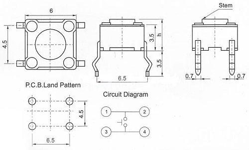 Glyduino 6*6*5 Tactile Push Button Switch Key Touch Micro Push Button Switch DIP Vertical 4Pin 10 PCS/1 Lot