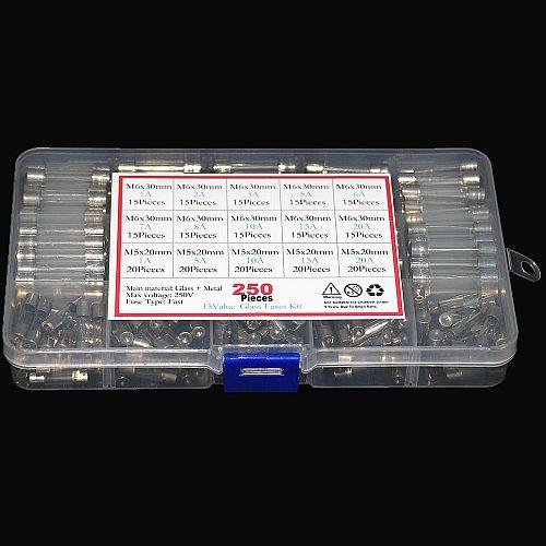 250Pcs/box Set Kit Glass Fuses 5x20mm 6x30mm Fuse Assorted Kits Quick Blow Glass Tube Fast-blow Glass Fuses 1-20A 250v