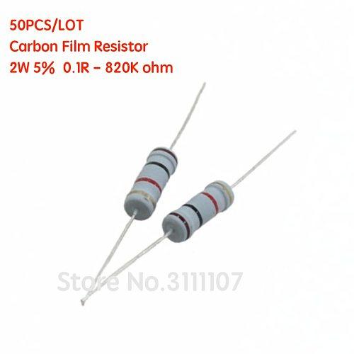 50PCS 2W 5% Carbon Film Resistor 0.1R - 820K ohm  0.1 0.5  4.7 5.6 10 47 470 560 750  200K 510K 820K ohm Resistance Carbon Film