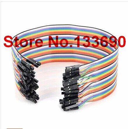 40pcs in Row Dupont Cable 20cm 2.54mm 1pin 1p-1p female to female jumper wire for 51 mcu uno r3 devolopment