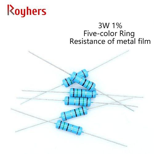 20Pcs 3W Metal Film Resistor 0R-22M 1% Tolerance 160R 300R 390R 510R 1K 2.2K 10K 13K 16K 27K 39K  2 Ohm Electronics Resistance