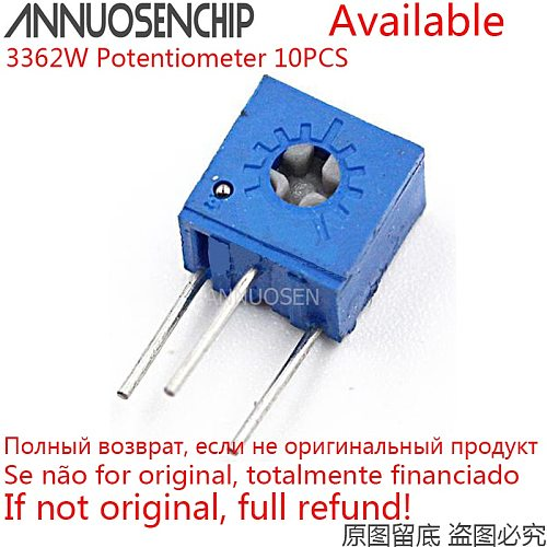 10PCS 3362W Adjustable Precision Potentiometer 100 200 500 R Ohm 1K 2K 5K 10K 20K 50K 100K 200K 500K 1M 3362 Trimpo Trimmer