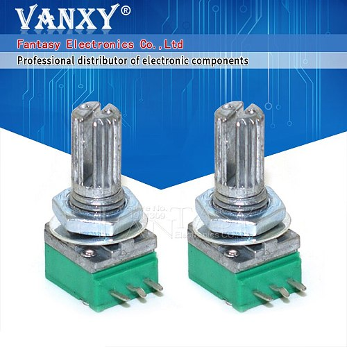 5PCS RK097N 50K single linked potentiometer B50K with a switch audio 3pin shaft 15mm power amplifier sealing potentiometer