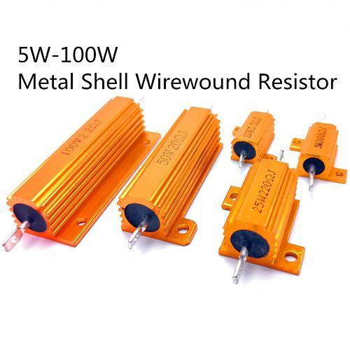 1PCS RX24 10W 25W Aluminum Power Metal Shell Case Wirewound Resistor 0.01 ~ 30K 1 2 3 5 6 8 10 20 100 150 1K 10K Ohm