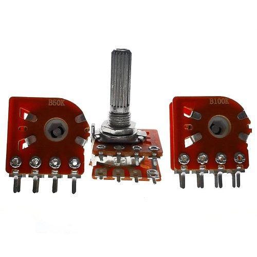 5PCS Hot New WH148 25MM Duplex Potentiometer 50KBX2 100KBX2  B50K 50K 100K 8PIN For ALPS RK27 RH2702