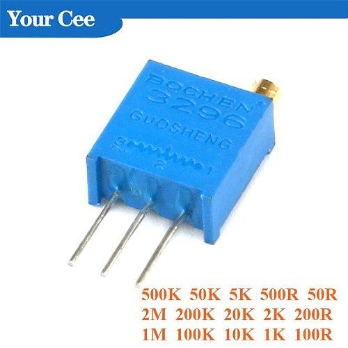 20 pcs 3296 Trimmer Potentiometer 3296W Variable Resistor Adjustable Resistance 101 102 103 104 105 201 202 203 204 501 500 502