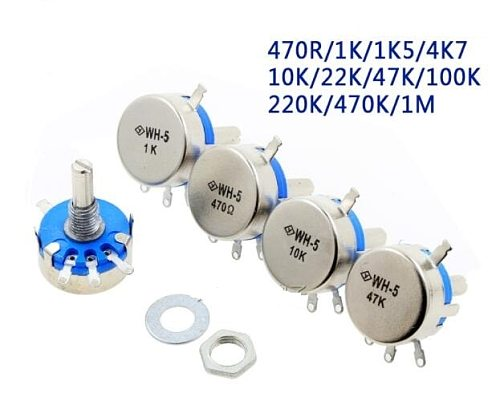 5PCS WH5-1A 470R 1K 1.5K 4.7K 10K 22K 47K 100K 220K 470K 1M  Carbon Film Potentiometer with switch potentiometer