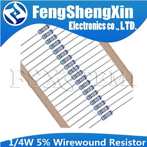 100pcs 1/4W 5% Wirewound Resistor Fuse 0.5R 2.2R 3.9R 4.7R 5.1R 10R