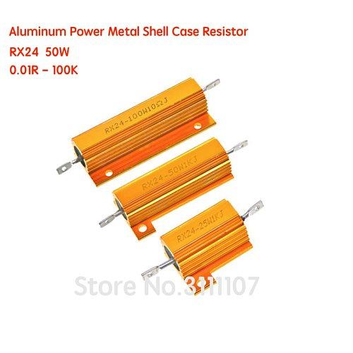 RX24 50W Aluminum Power Metal Shell Case Resistor  Wirewound Resistor 0.01 ~ 100K 0.05R 0.1 0.22 0.33R 1.5 8 10R 20 100 120 10K