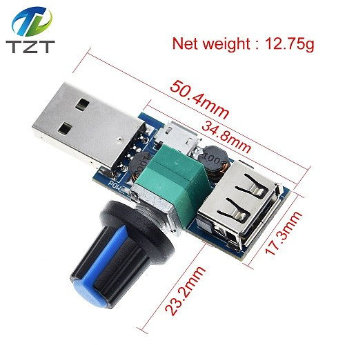 5V to 12V USB Fan Stepless Speed Controller Fan Governor Adjustable Potentiometer with Male Female USB Type-A Adapter