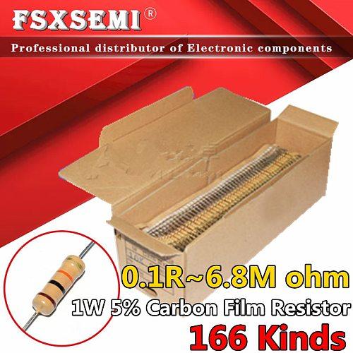 100pcs 1W 5% Carbon Film Resistor 0.1R ~ 1M 1R 2.2R 10R 22R 47R 51R 100R 150R 470R 1K 4.7K 10K 47K 1 2.2 10 22 47 51 100 150 470