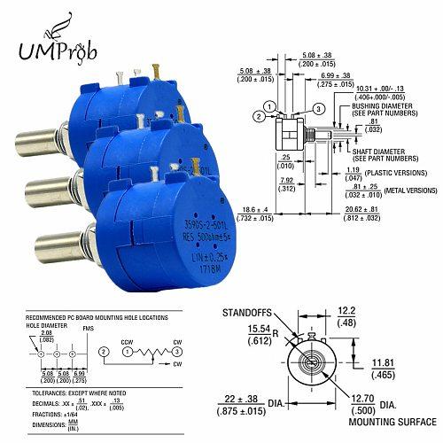 3590S-2-103L 3590S 1K 2K 5K 10K 20K 50K 100K ohm  Precision Multiturn Potentiometer 10 Ring Adjustable Resistor