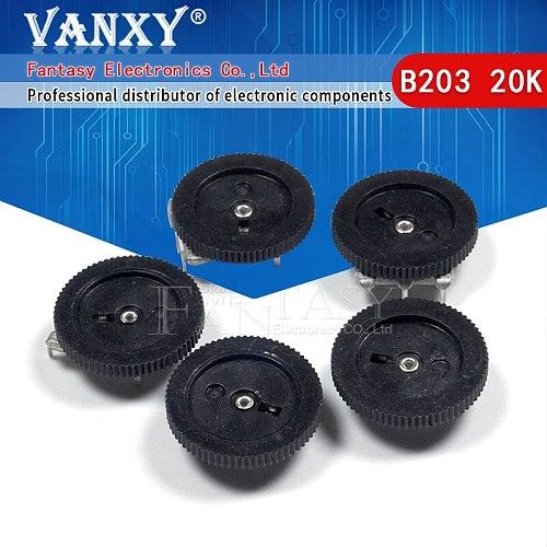 10pcs Gear tuning potentiometer B203 20K 3pin 16*2mm Dial Potentiometer
