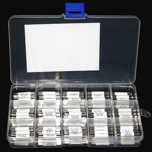 75pcs/Box 6mm x 30mm 250V Fast Blow Ceramic Fuse Assortment Kit 0.5A 1A 2A 3A 4A 5A 6A 8A 10A 13A 15A 16A 20A 25A 30A